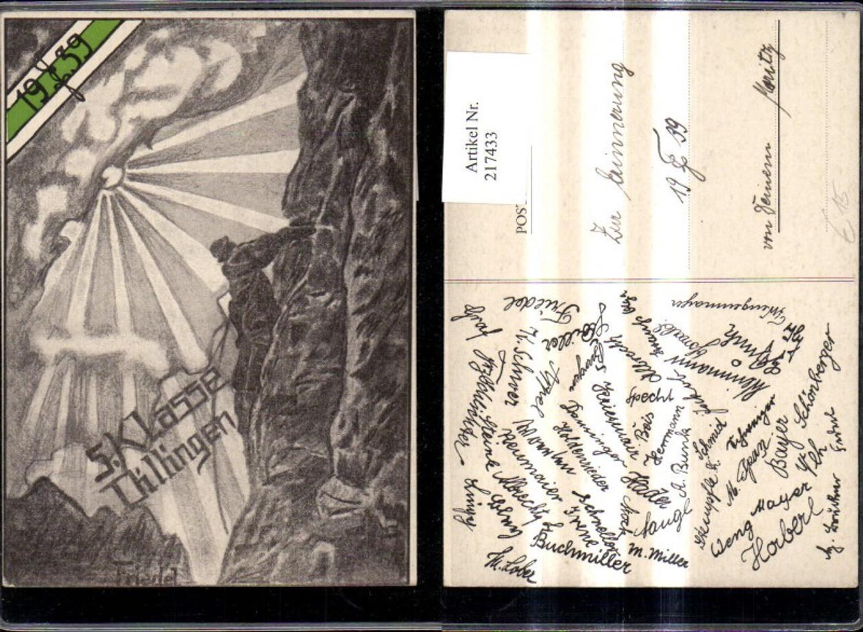 217433,Studentika Künstler Ak Friedel 5. Klasse Dillingen 1939 Bergsteiger Berg  günstig online kaufen