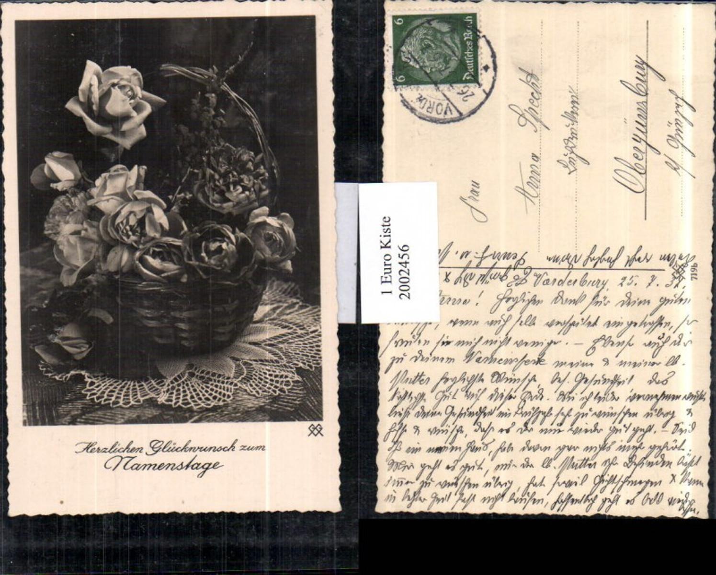 2002456,Namenstag Korb m. Rosen Rosenblüten Blumen günstig online kaufen