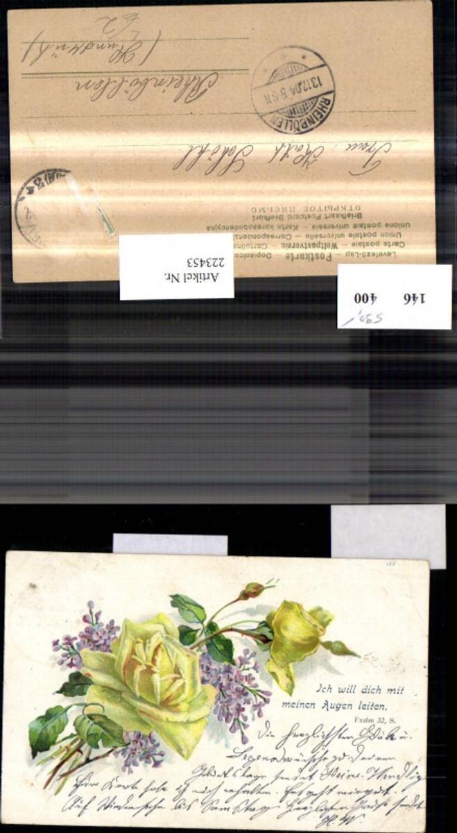 223453,Litho Gelbe Rosen Flieder Blumen Spruch Text  günstig online kaufen