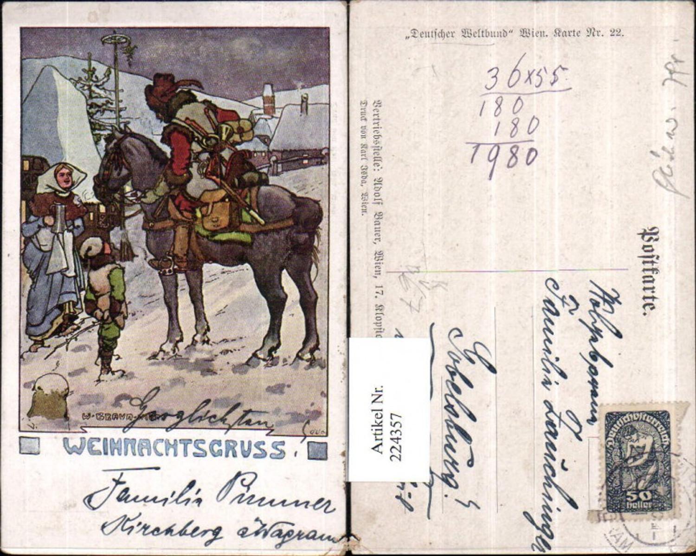224357,Künstler AK Adolf Bauer Weihnachtsgruß Mann a. Pferd Kind pub Deutscher Weltbund 22 günstig online kaufen