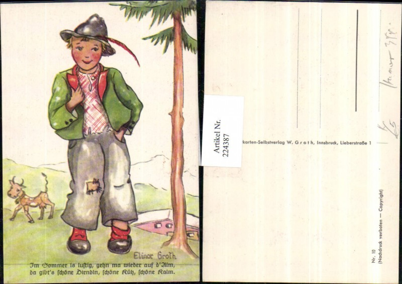 224387,Künstler AK Elinor Groth Junge m. Hut Feder Kuh Text Spruch günstig online kaufen