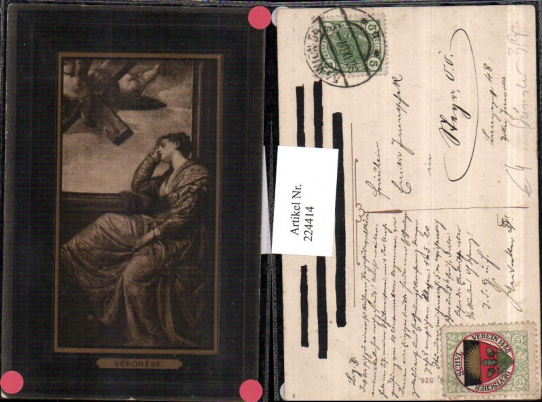 224414,Künstler AK Veronese Frau m. Kleid Engel Kreuz günstig online kaufen
