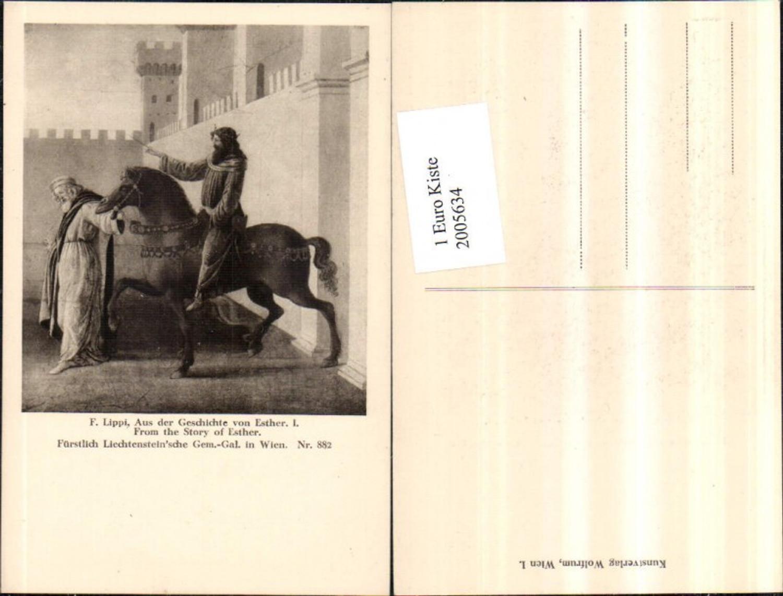 2005634,Künstler AK F. Lippi Aus d. Geschichte v. Esther Mann auf Pferd Burg Gemälde günstig online kaufen