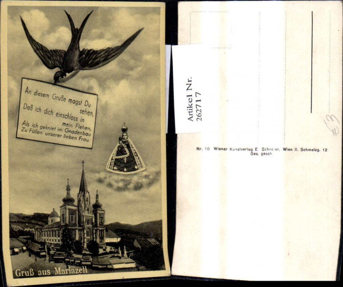 262717,Fotomontage Gruß a. Mariazell Kirche Schwalbe Spruch a. Schild Gnadenmutter  günstig online kaufen