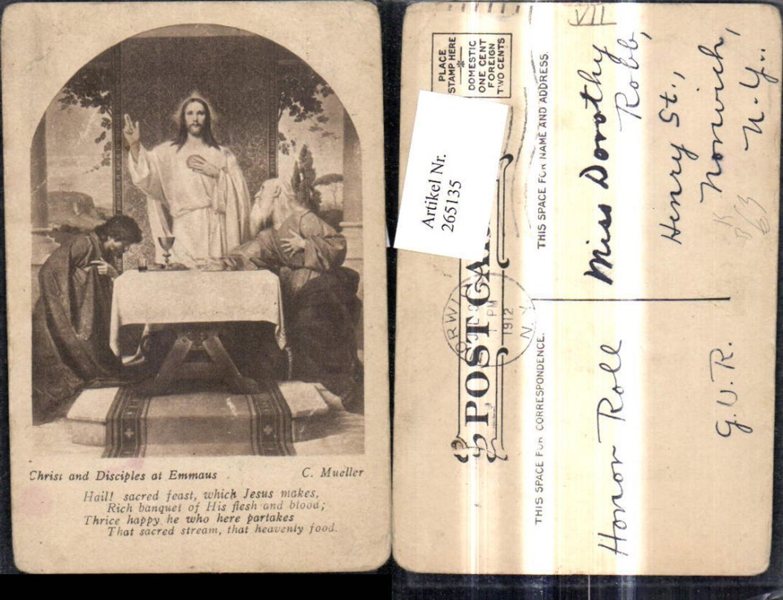 265135,Künstler Ak C. Mueller Christ and Disciples at Emmaus Spruch Text Religion  günstig online kaufen