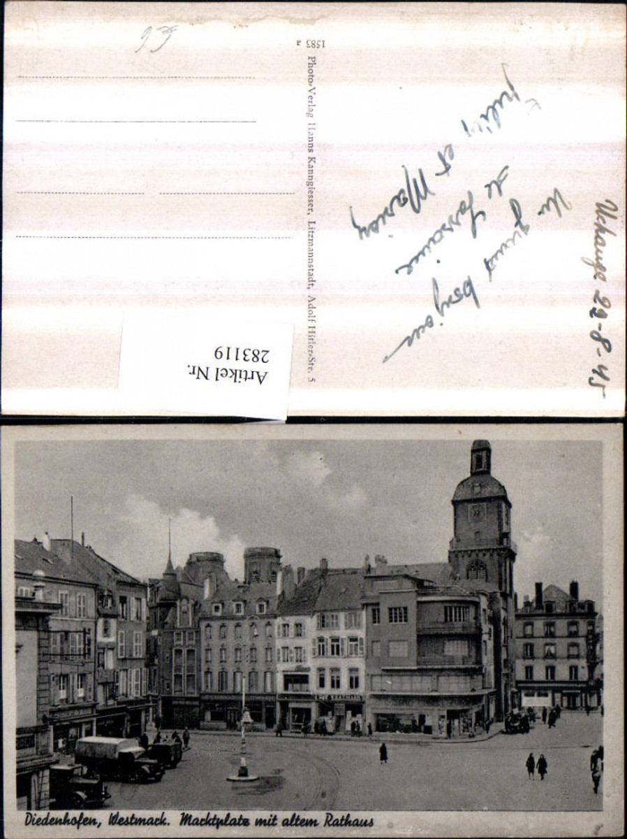 283119,Elsass Diedenhofen Marktplatz m. Altem Rathaus Geschäfte günstig online kaufen