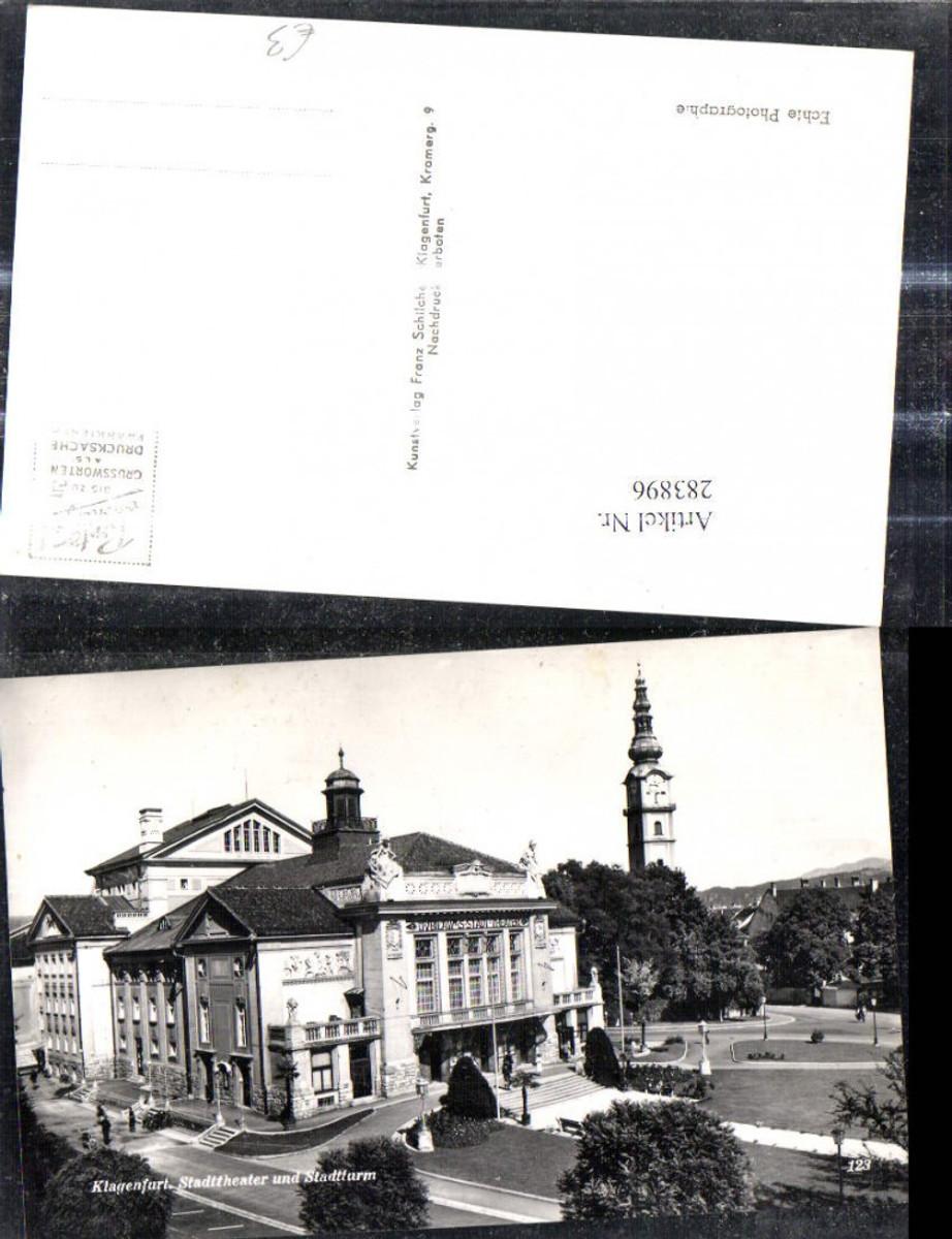 283896,Foto Ak Klagenfurt Stadttheater u. Stadtturm Theater Turm  günstig online kaufen