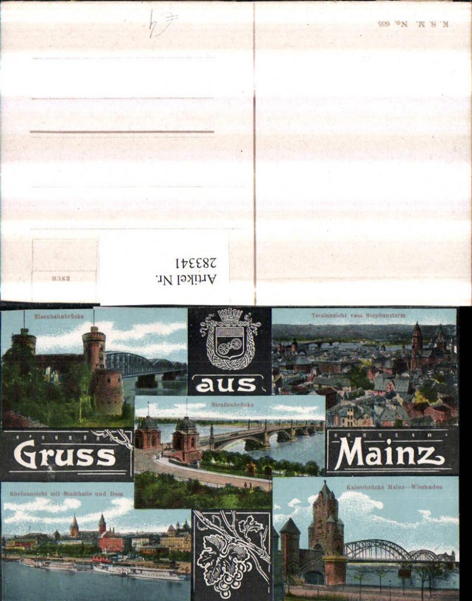 283341,Gruß aus Mainz Totale Kaiserbrücke Eisenbahnbrücke Stadthalle Dom Dampfer Mehrbildkarte günstig online kaufen