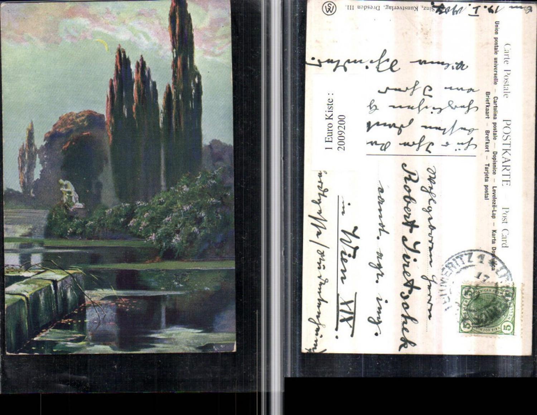 2009200,Künstler AK Teich Zypressen Statue Mondschein Sichel günstig online kaufen