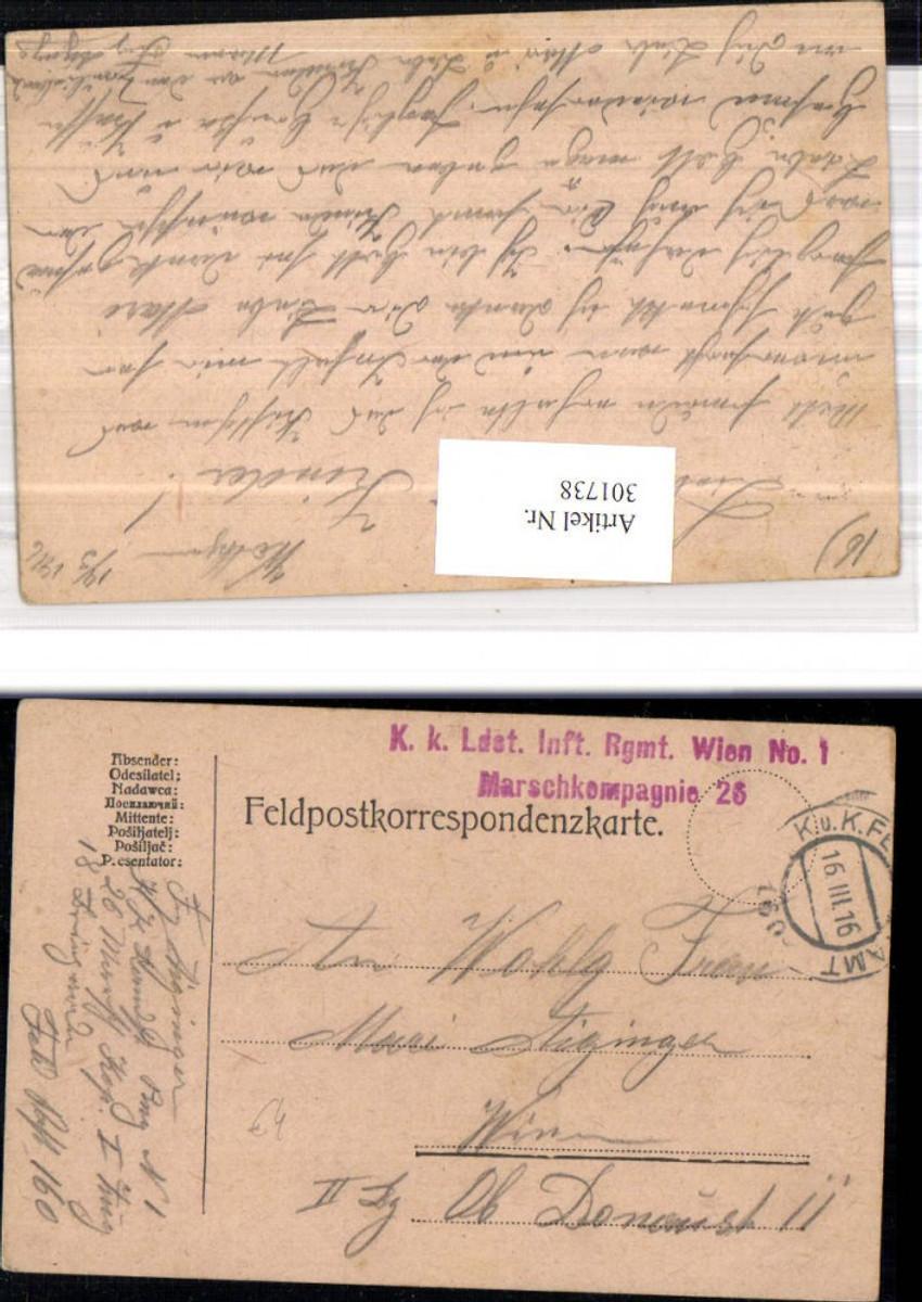 301738,K.k. Feldpost 160 Landsturminfanterieregiment Wien 1 26. Feldkompagnie  günstig online kaufen