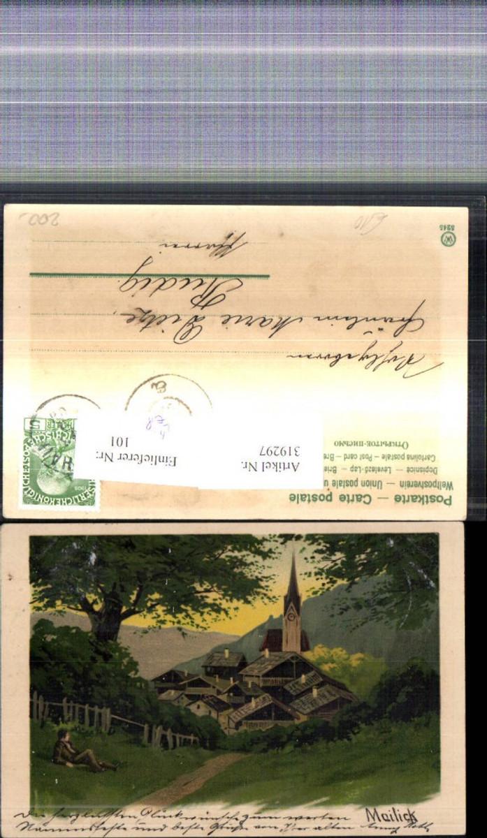 319297,Künstler Litho Alfred Mailick Mann blickt a. Dorf Landschaft  günstig online kaufen