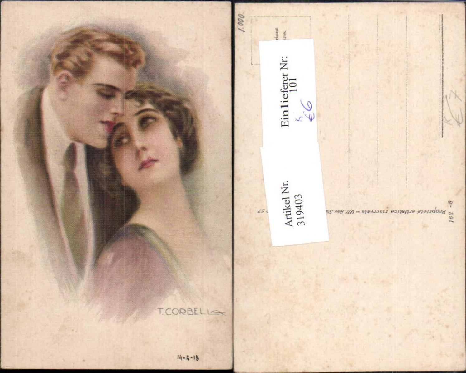319403,Künstler Ak T. Corbella Paar Verliebter Blick Liebe  günstig online kaufen