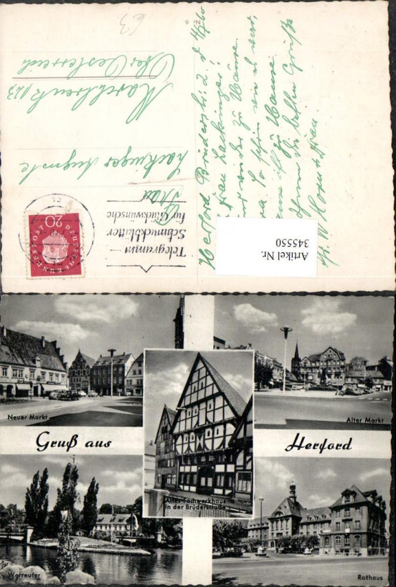 345550,Gruß aus Herford Rathaus Fachwerkhaus Neuer u. Alter Markt Mehrbildkarte günstig online kaufen