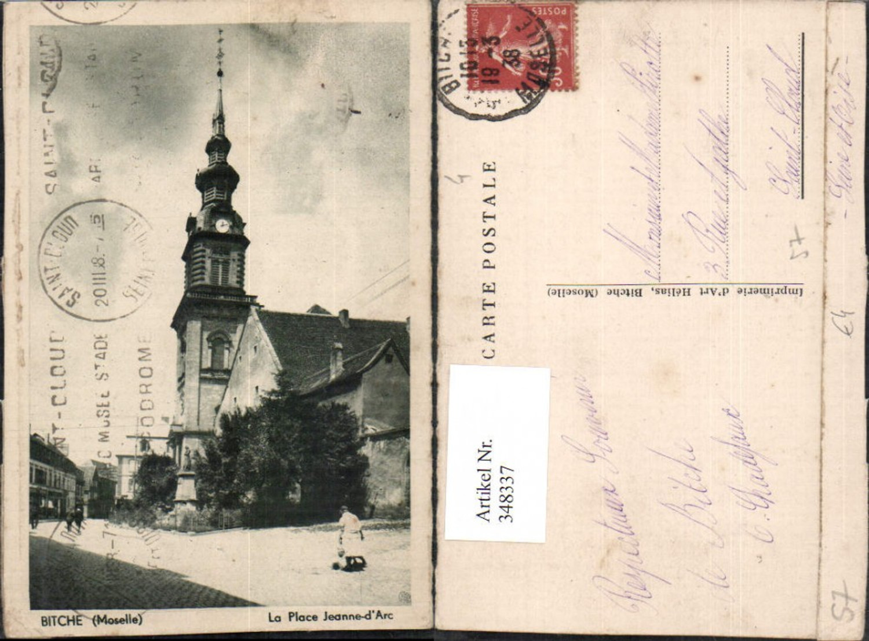 348337,Lothringen Moselle Bitche La Place Jeanne-d'Arc Straßenansicht Kirche günstig online kaufen
