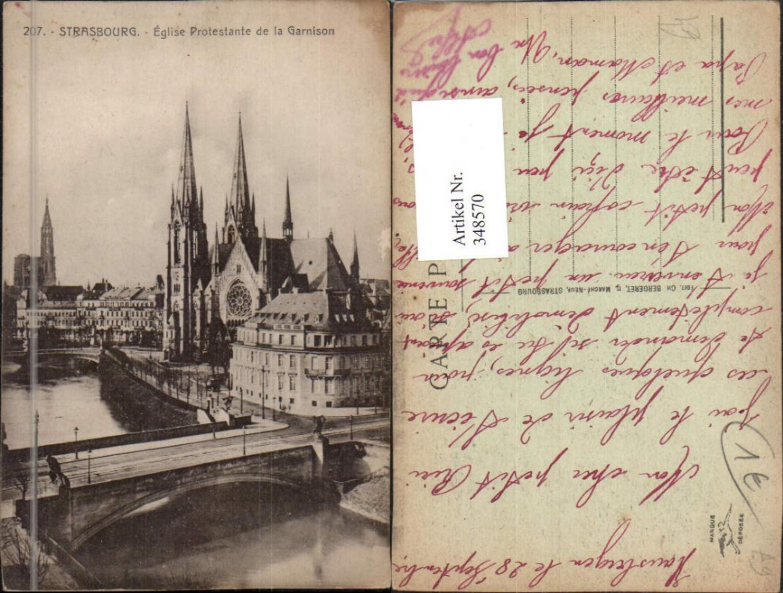 348570,Elsass Bas-Rhin Strasbourg Straßburg Eglise Protestante de la Garnison Kirche Brücke günstig online kaufen