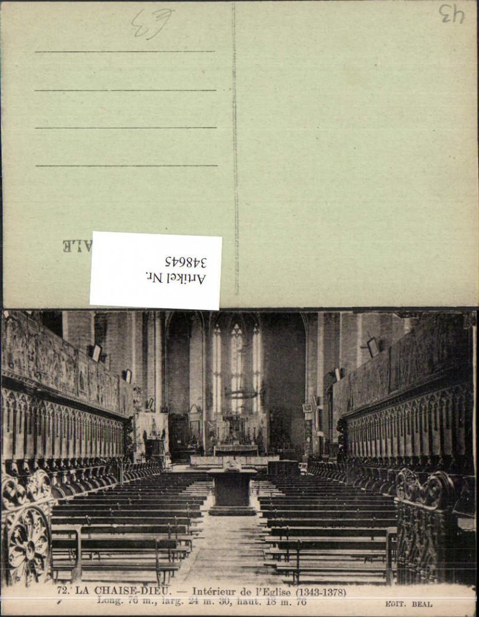 348645,Auvergne Haute-Loire La Chaise-Dieu Interieur de l'Eglise Kirche Innenansicht günstig online kaufen
