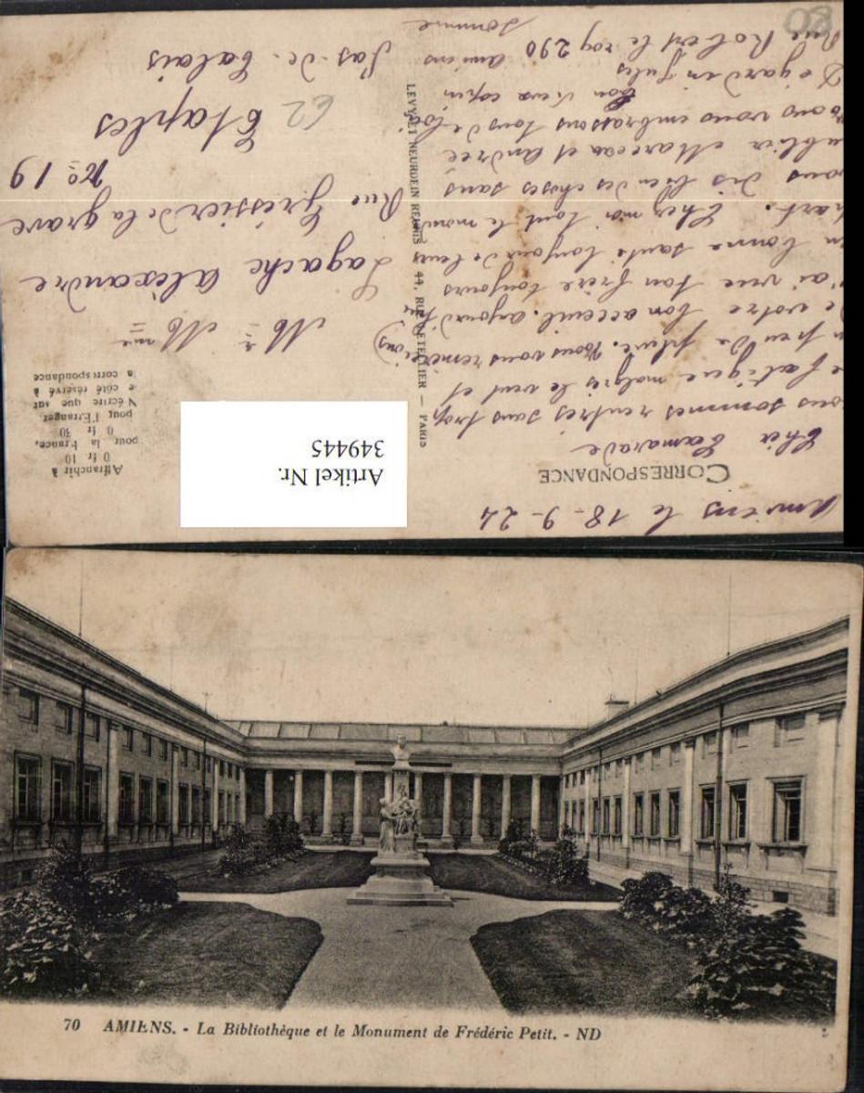349445,Picardie Somme Amiens La Bibliotheuqe et le Monument de Frederic Petit Bibliothek günstig online kaufen