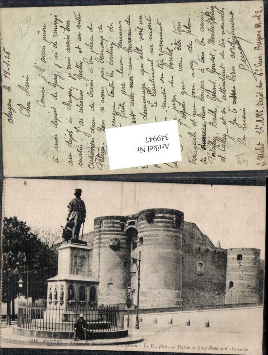 349947,Pays de la Loire Maine-et-Loire Angers Statue du Roi Rene et le Chateau Schloss  günstig online kaufen