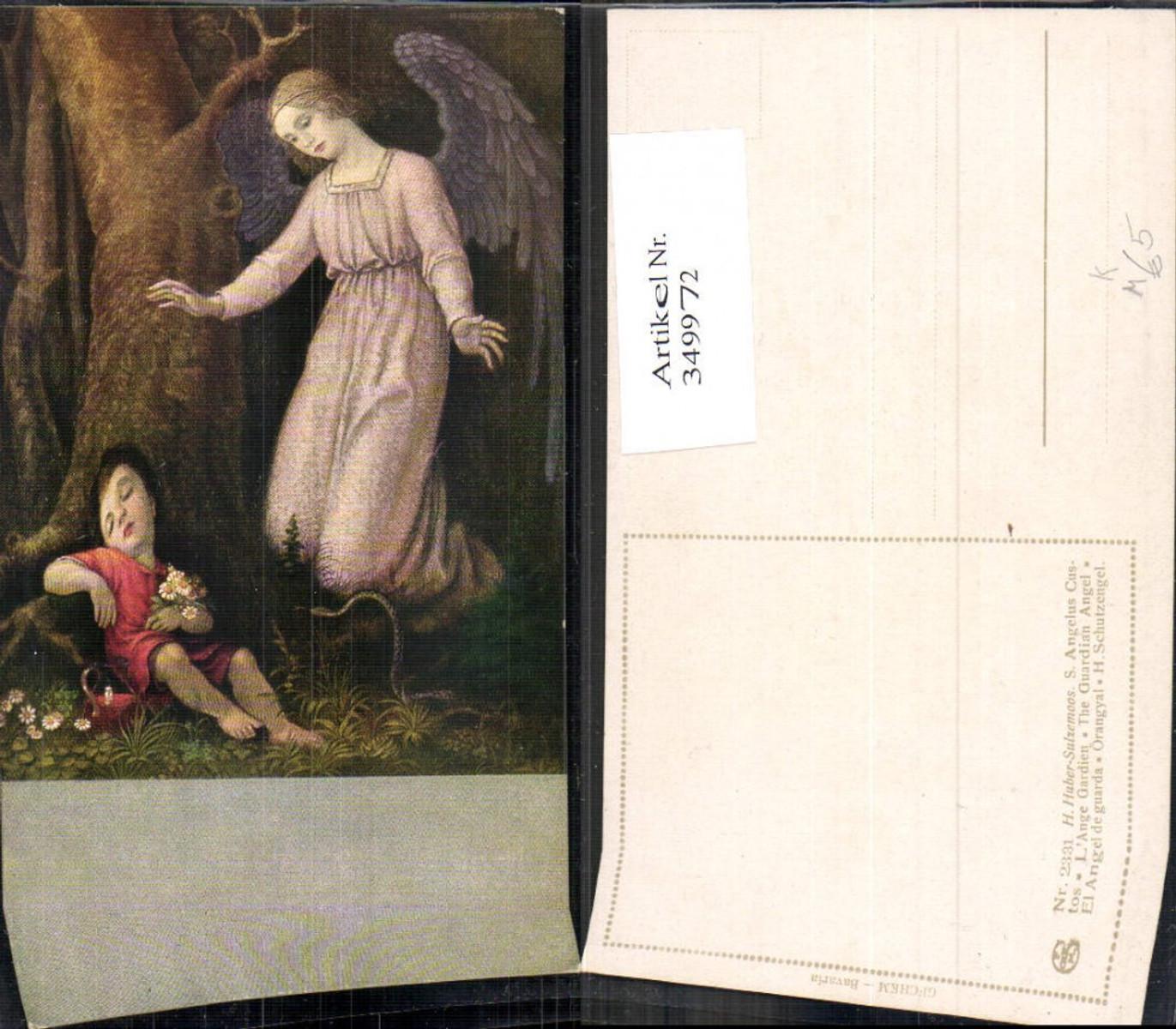 349972,Künstler Ak H. Huber-Sulzemoos S. Angelus Custos Engel m. Kind Religion  günstig online kaufen