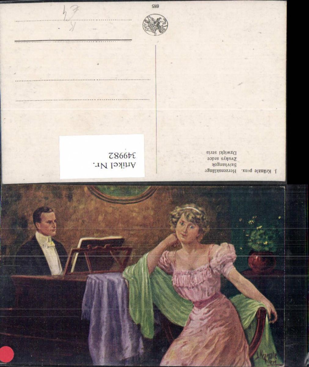 349982,Künstler Ak J. Kränzle Herzensklänge Frau Mann spielt Klavier Musik  günstig online kaufen