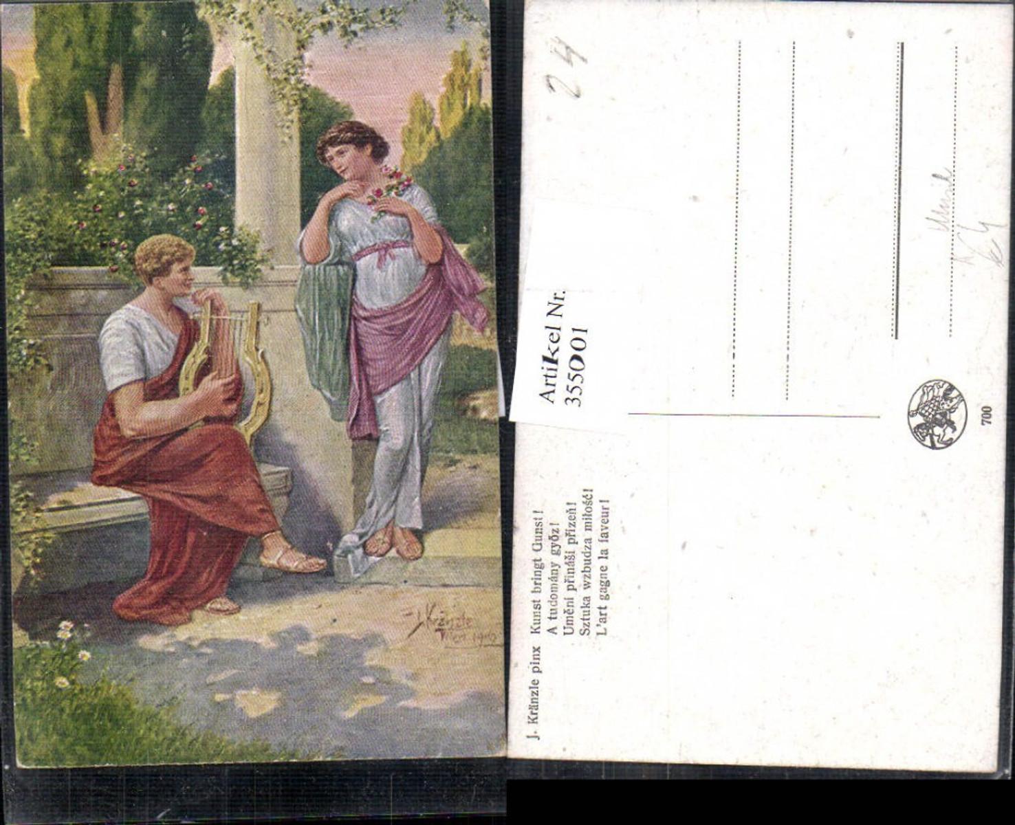 355001,Künstler Ak J. Kränzle Kunst bringt Gunst Mann Handharfe Frau hört zu Musik  günstig online kaufen
