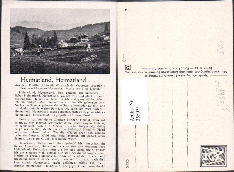 355031,Liedkarte Heimatland Heimatland Operette Monika Nico Dostal Hermann Hermecke Text  günstig online kaufen