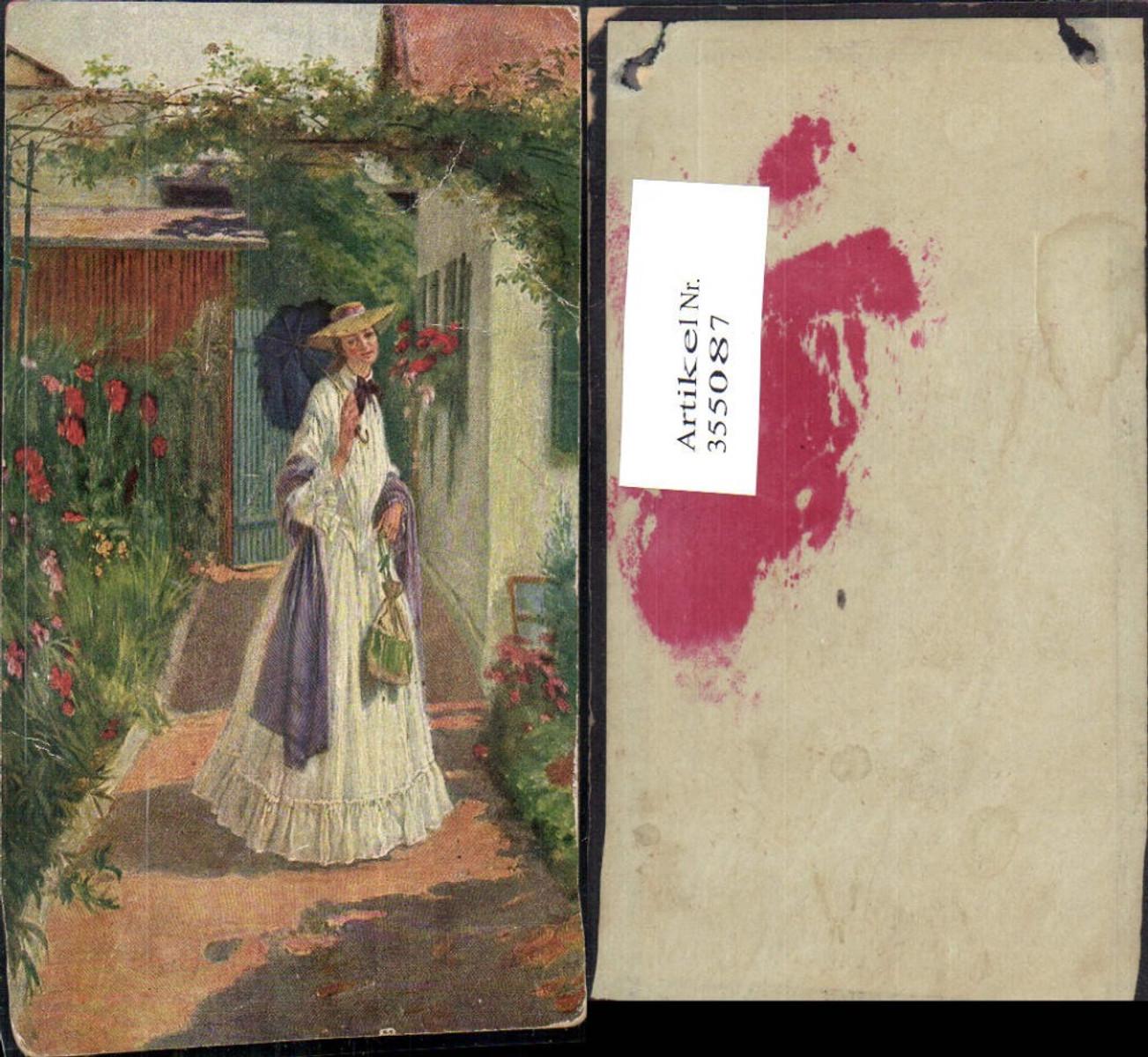 355087,Künstler Ak Frau m. Hut Schirm Kleid Handtasche  günstig online kaufen