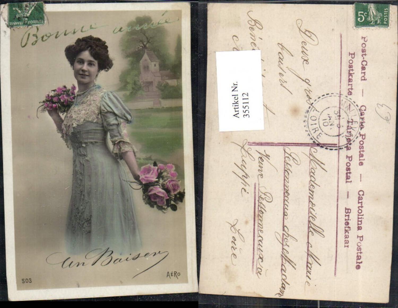 355112,Frau Kleid Halskette Perlenkette Rosen Strauß Blumen  günstig online kaufen