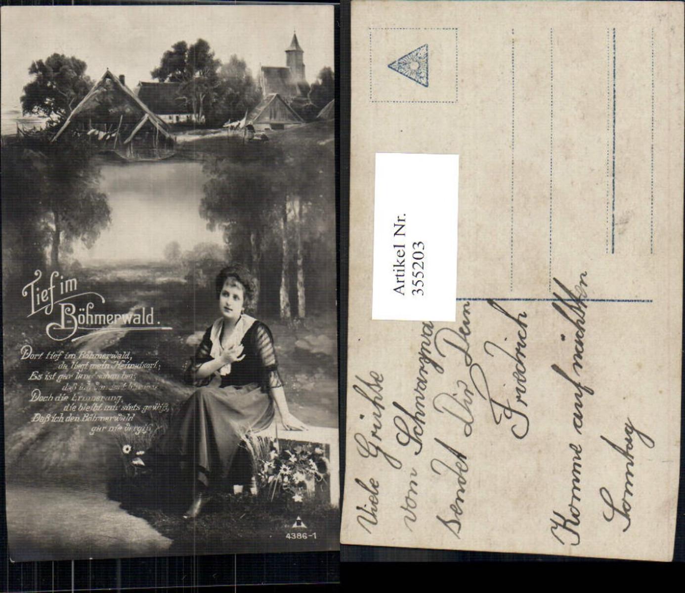 355203,Fotomontage Frau a. Bank Dorf Kirche Böhmerwald Spruch  günstig online kaufen