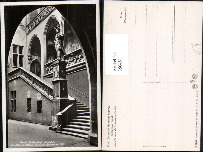 350481,Basel Rathaus-Hof Standbild des Römischen Feldherrn Munatius Plancus günstig online kaufen