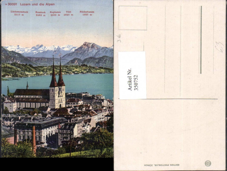350752,Luzern Teilansicht Kirche m. Alpen Bergkulisse günstig online kaufen