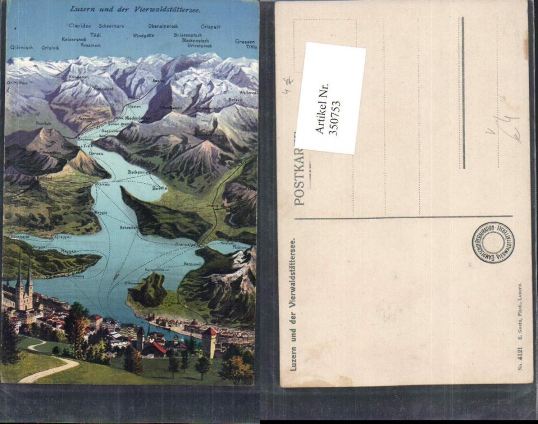 350753,Luzern Totale u. Vierwaldstättersee aus d. Vogelschau pub E. Goetz 4121 günstig online kaufen