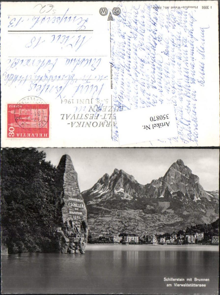 350870,Schillerstein m. Brunnen Bergkulisse Kt Schwyz Harmonika-Welt-Festival Luzern 1964 günstig online kaufen