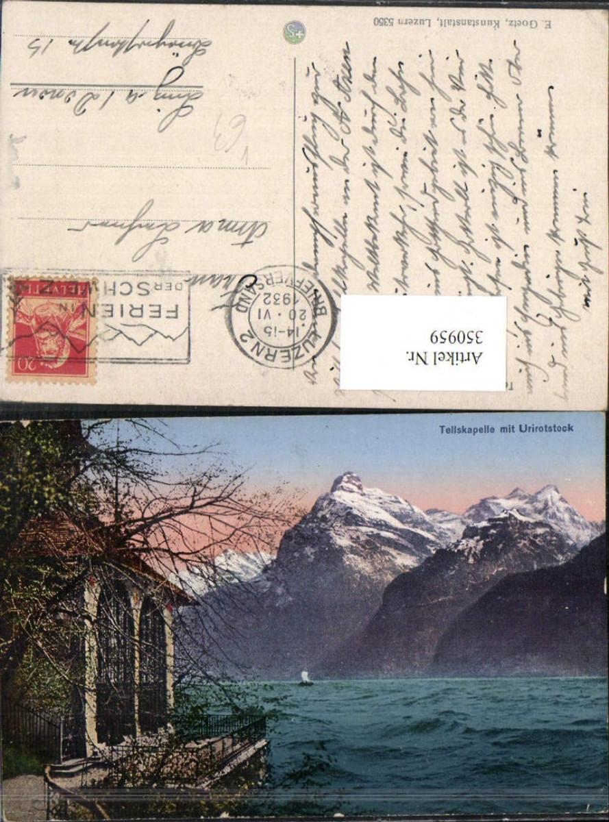 350959,Tellskapelle Kapelle m. Urirotstock b. Seelisberg Bergkulisse pub E. Goetz 5350 Kt Uri günstig online kaufen