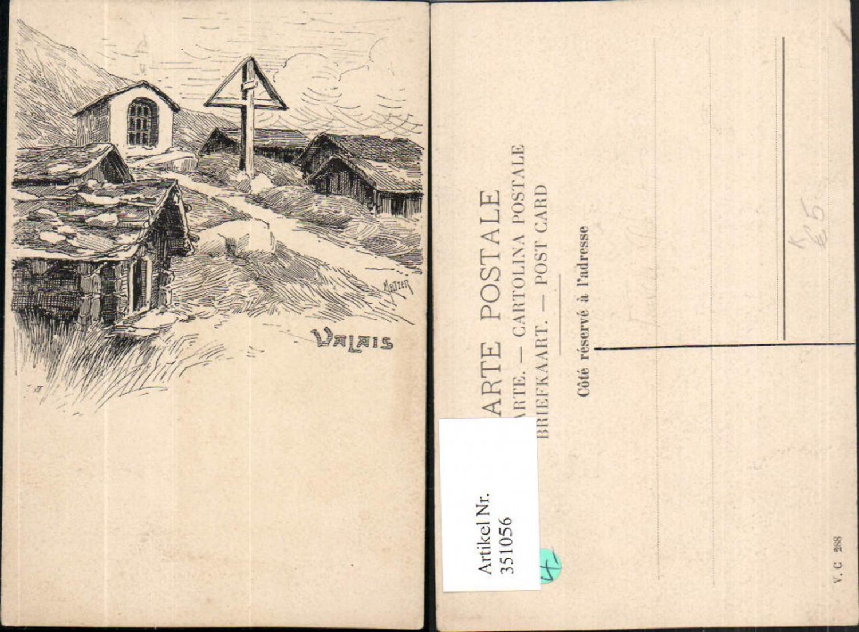 351056,Künstler AK Meltzer Valais Kapelle Kreuz Kt Wallis günstig online kaufen
