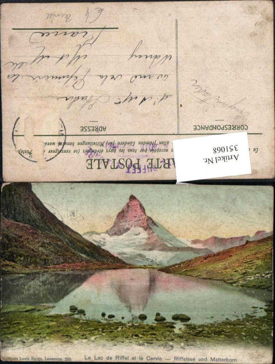 351068,Le Lac de Riffel et le Cervin Riffelsee u. Matterhorn b. Zermatt Kt Wallis günstig online kaufen