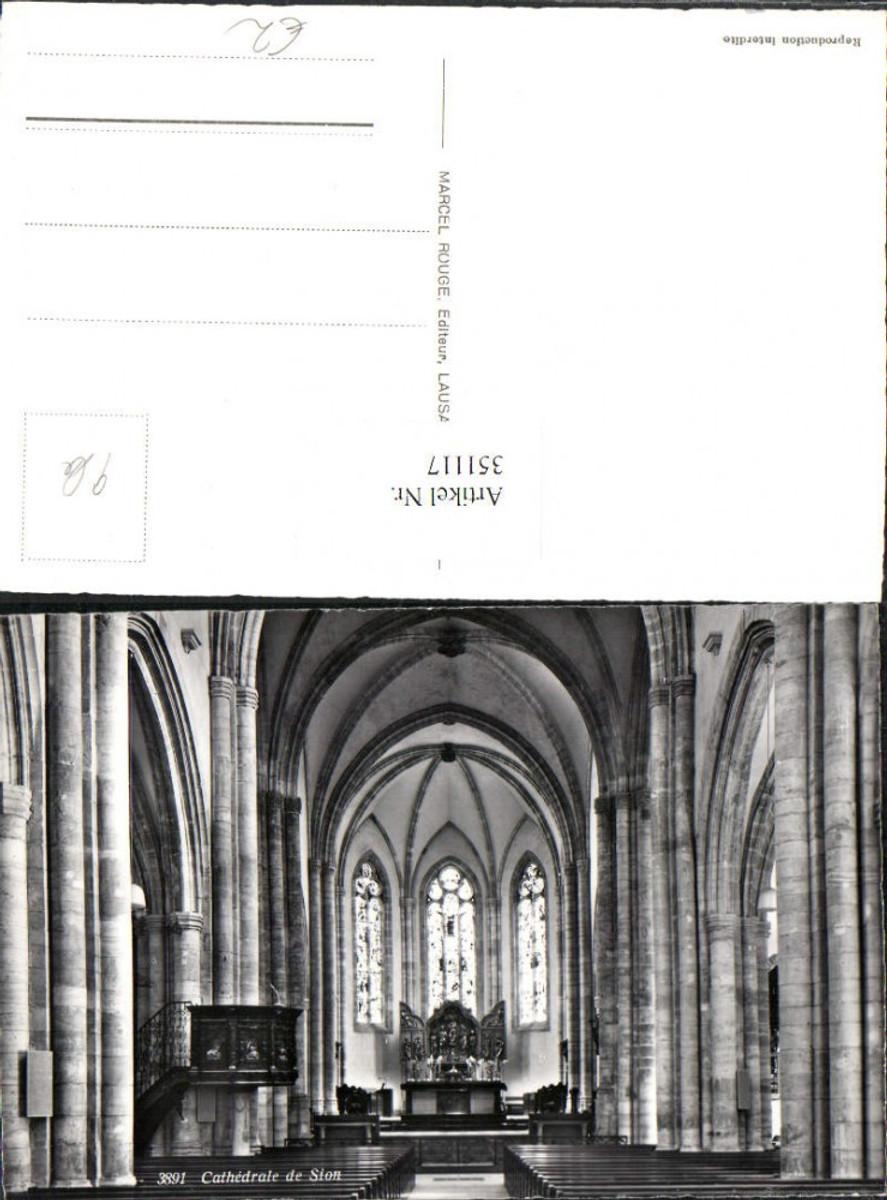 351117,Sion Cathedrale Kirche Innenansicht Kt Wallis günstig online kaufen