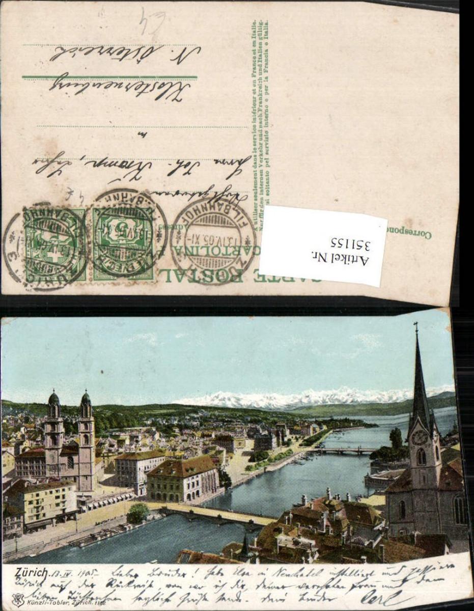 351155,Zürich Teilansicht Brücken Kirche pub Künzli Tobler 1182 günstig online kaufen