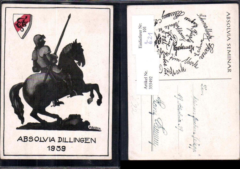 355492,Künstler Ak G. Huber Studentika Studentenverbindung Dillingen Absolvia 1939 RRR! I O  günstig online kaufen
