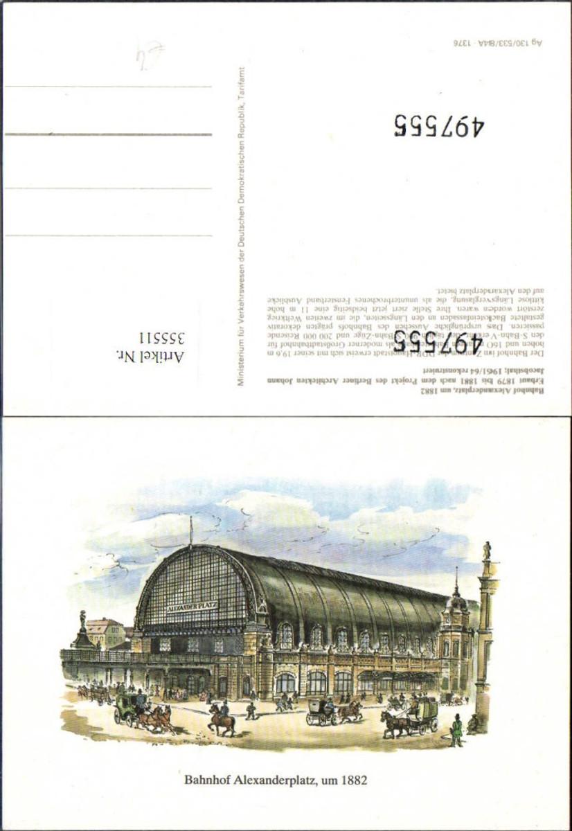 355511,Künstler Ak Bahnhof Alexanderplatz Berlin 1882 günstig online kaufen