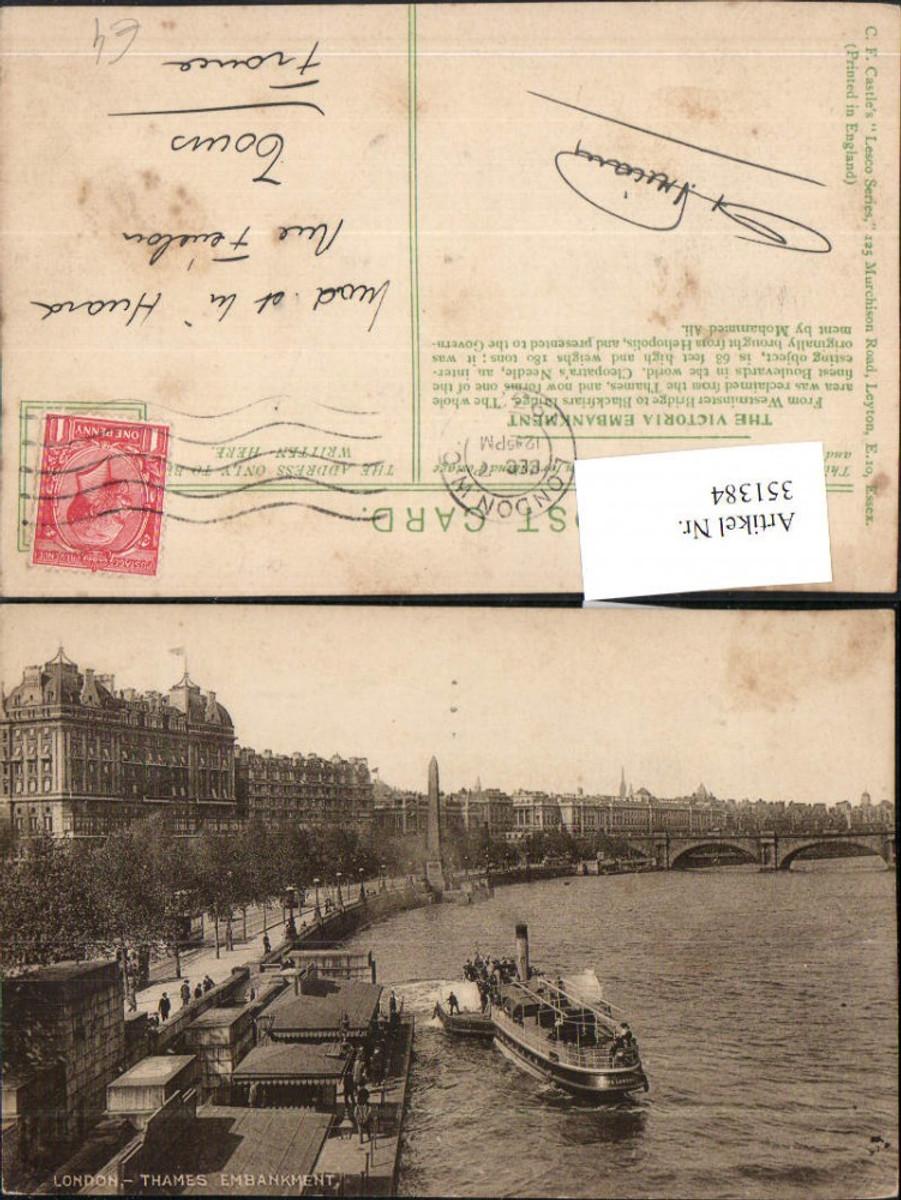 351384,London Thames Embankment Fluss Dampfer Brücke günstig online kaufen