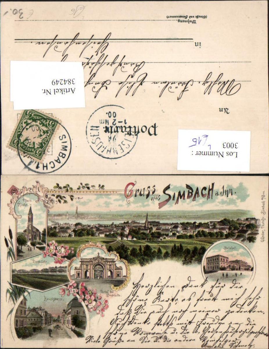 384249.Litho Gruß aus Simbach am Inn Totale Bahnhof Kirche Brücke Mehrbildkarte günstig online kaufen