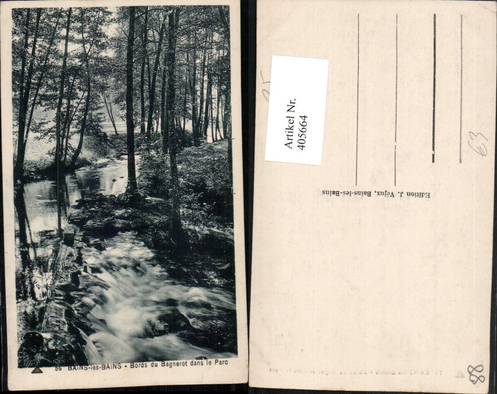 Détails sur 405664,Lothringen Bains-les-Bains Bords du Bagnerot dans le  Parc Partie