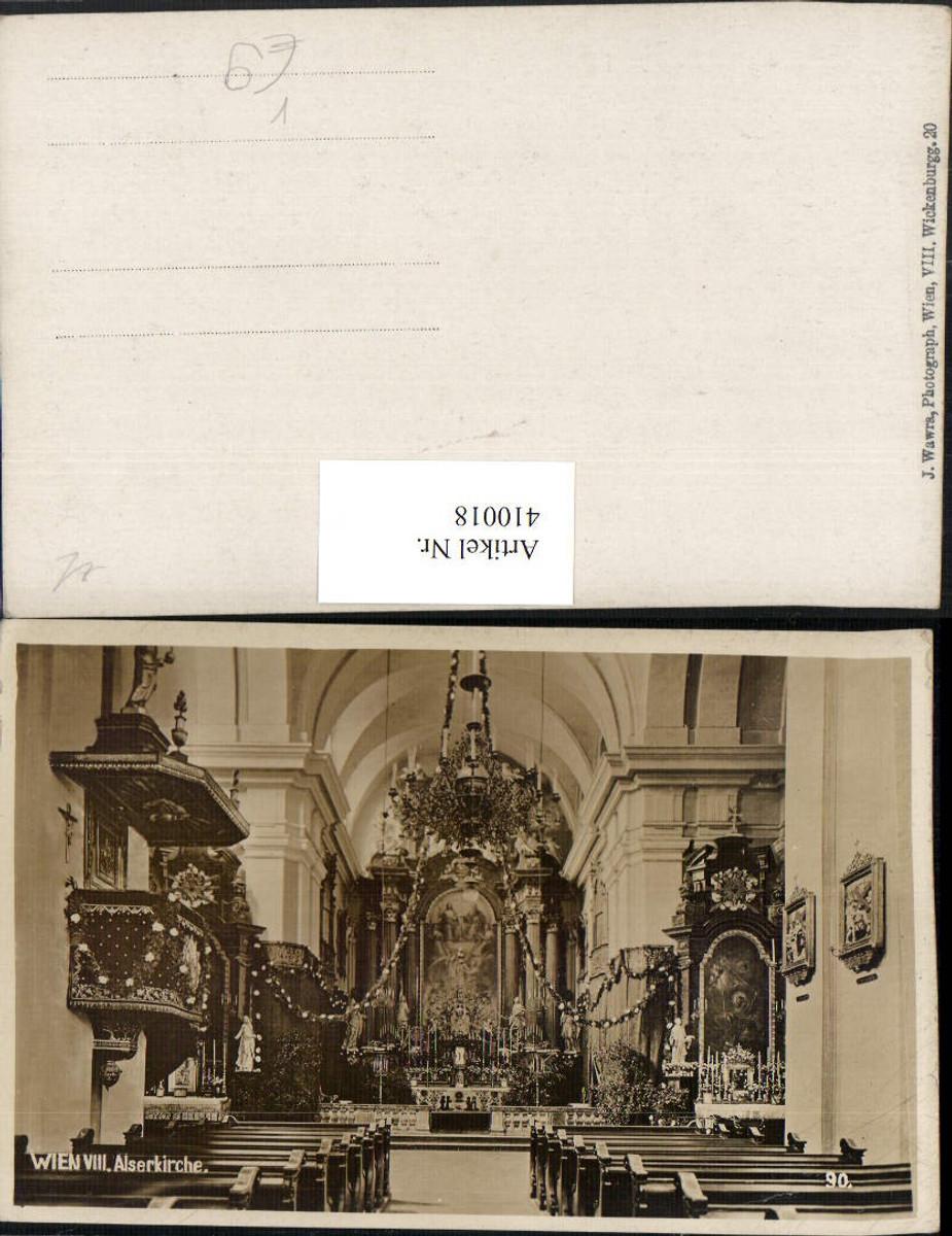 410018,Foto AK Wien Josefstadt Alserkirche Kirche Innenansicht Kanzel pub J. Wawra günstig online kaufen
