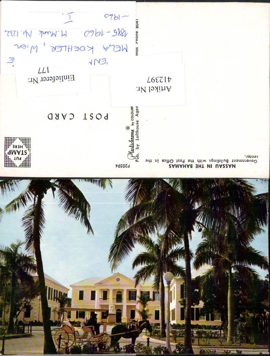 412397,Bahamas Nassau Government Buildings Post Office Gebäude Kutsche günstig online kaufen