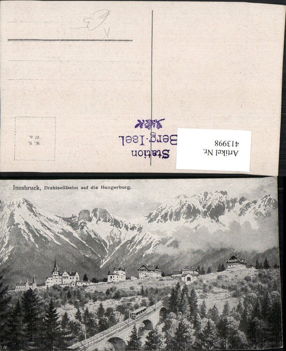 413998,Künstler AK Innsbruck Drahtseilbahn Hungerburg Bergkulisse günstig online kaufen