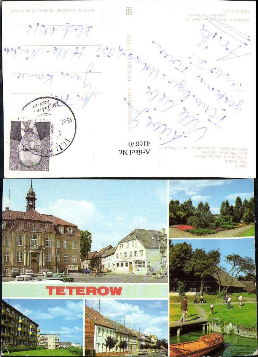 416870,Teterow Markt Rathaus Pionierpark Gaststätte Mehrbildkarte pub VEB günstig online kaufen