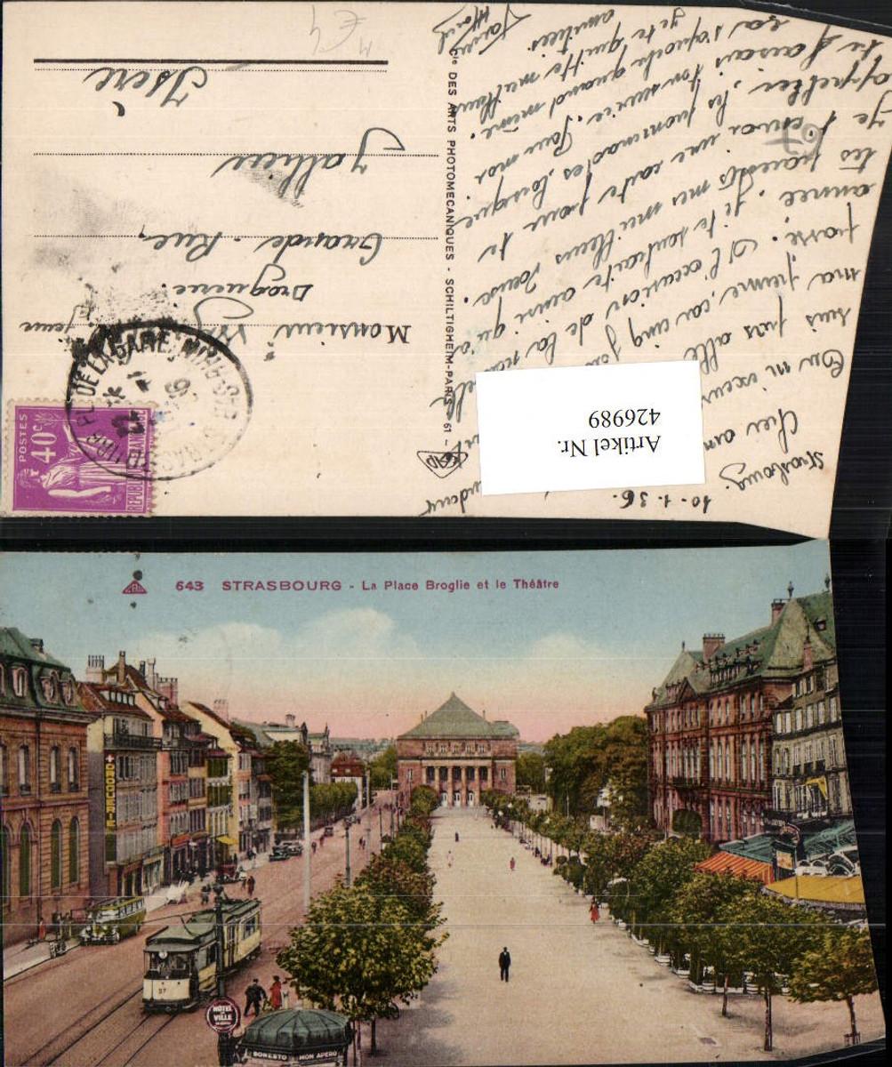 426989,Elsass Bas-Rhin Strasbourg Straßburg Place Broglie et le Theatre Straßenbahn günstig online kaufen
