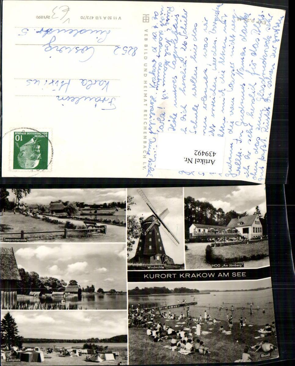 439492,Krakow am See Badestrand Windmühle Zeltplatz Mehrbildkarte pub VEB günstig online kaufen