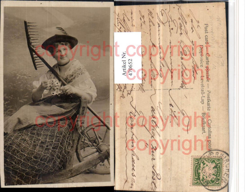 470652,Foto AK Pfarrkirchen Frau in Tracht Hut Rechen günstig online kaufen